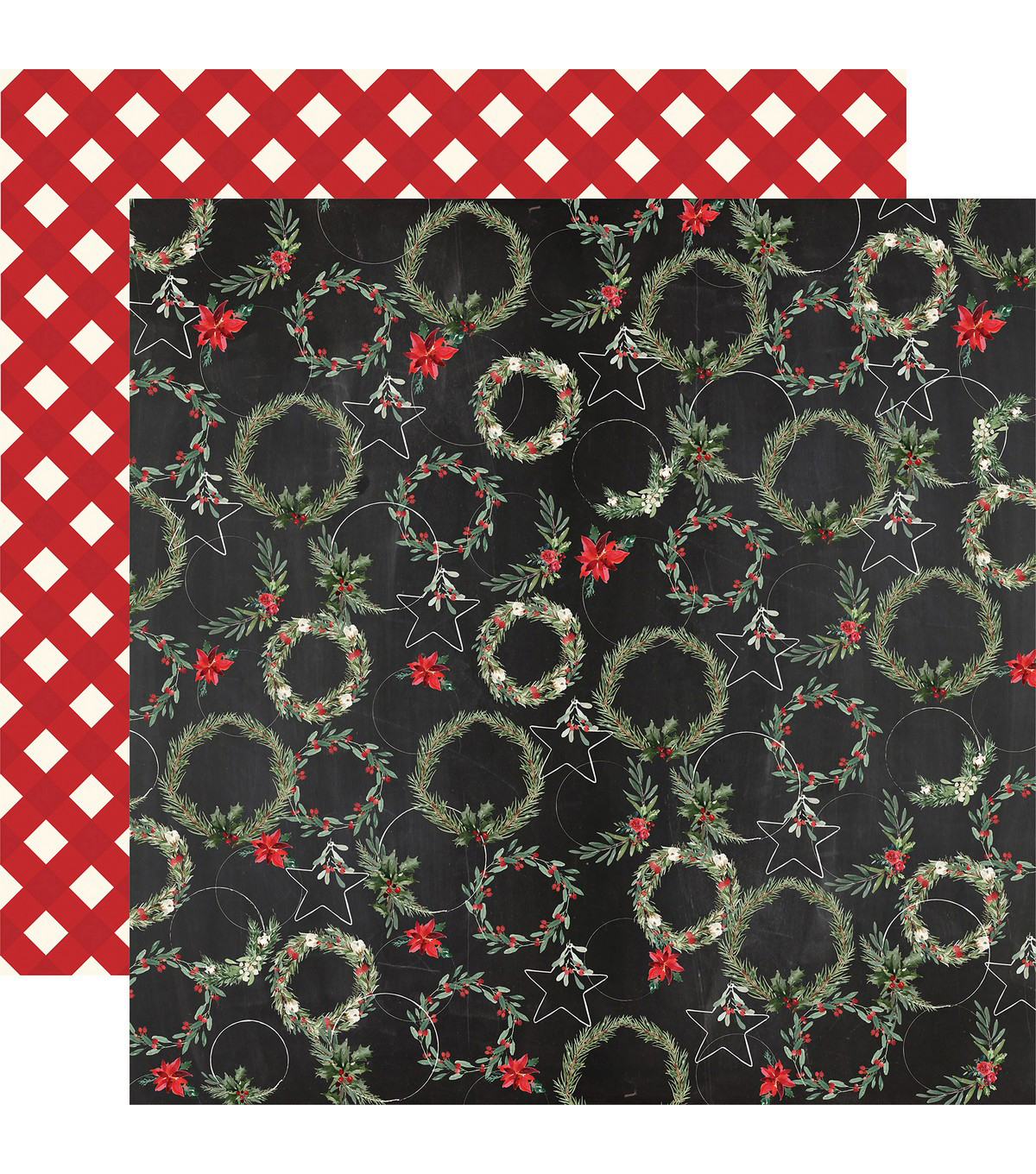 Christmas Double-Sided Cardstock 12\u0022X12\u0022-Jolly Wreaths