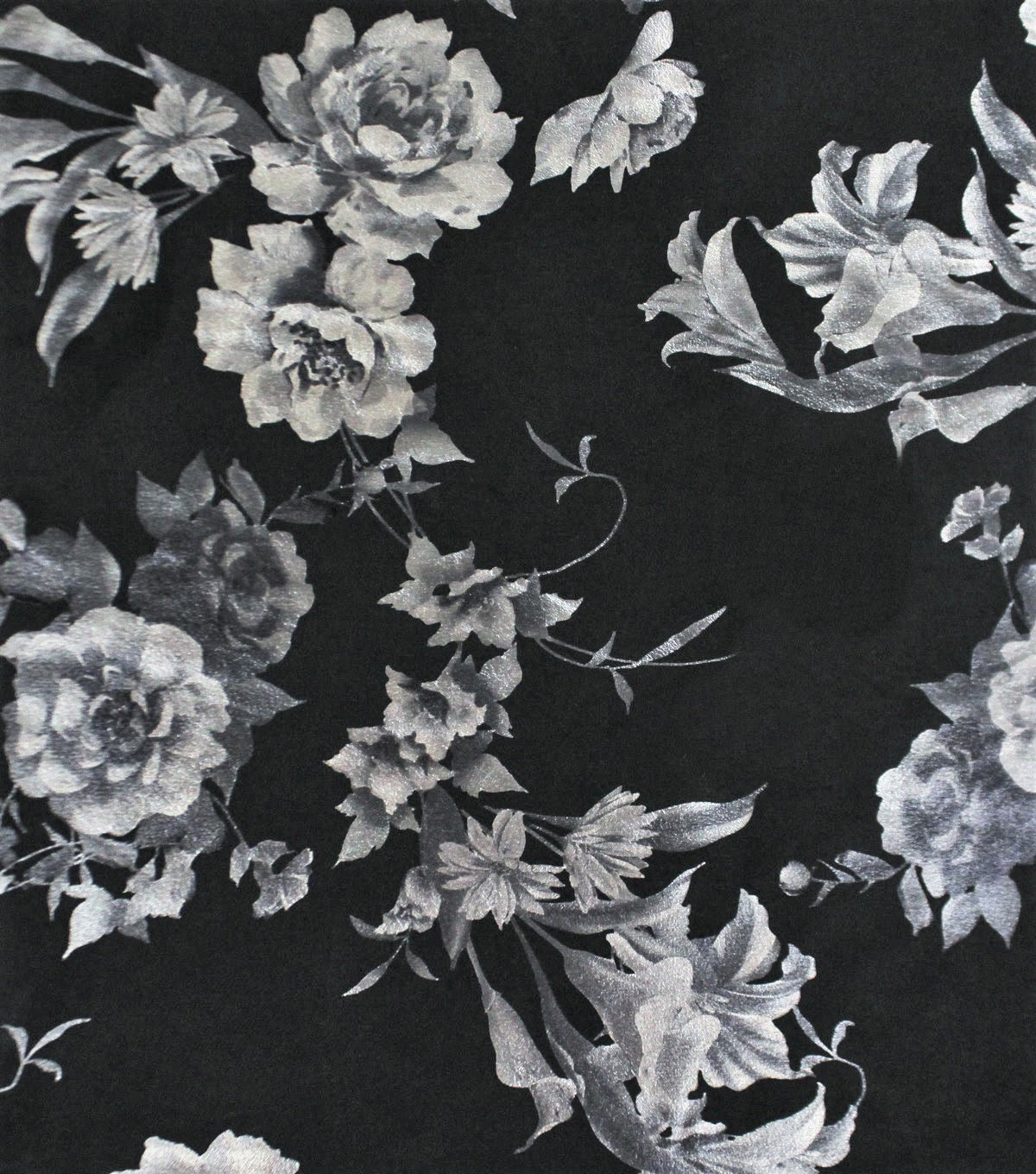 Faux Suede Fabric-Pearlized Floral on Black