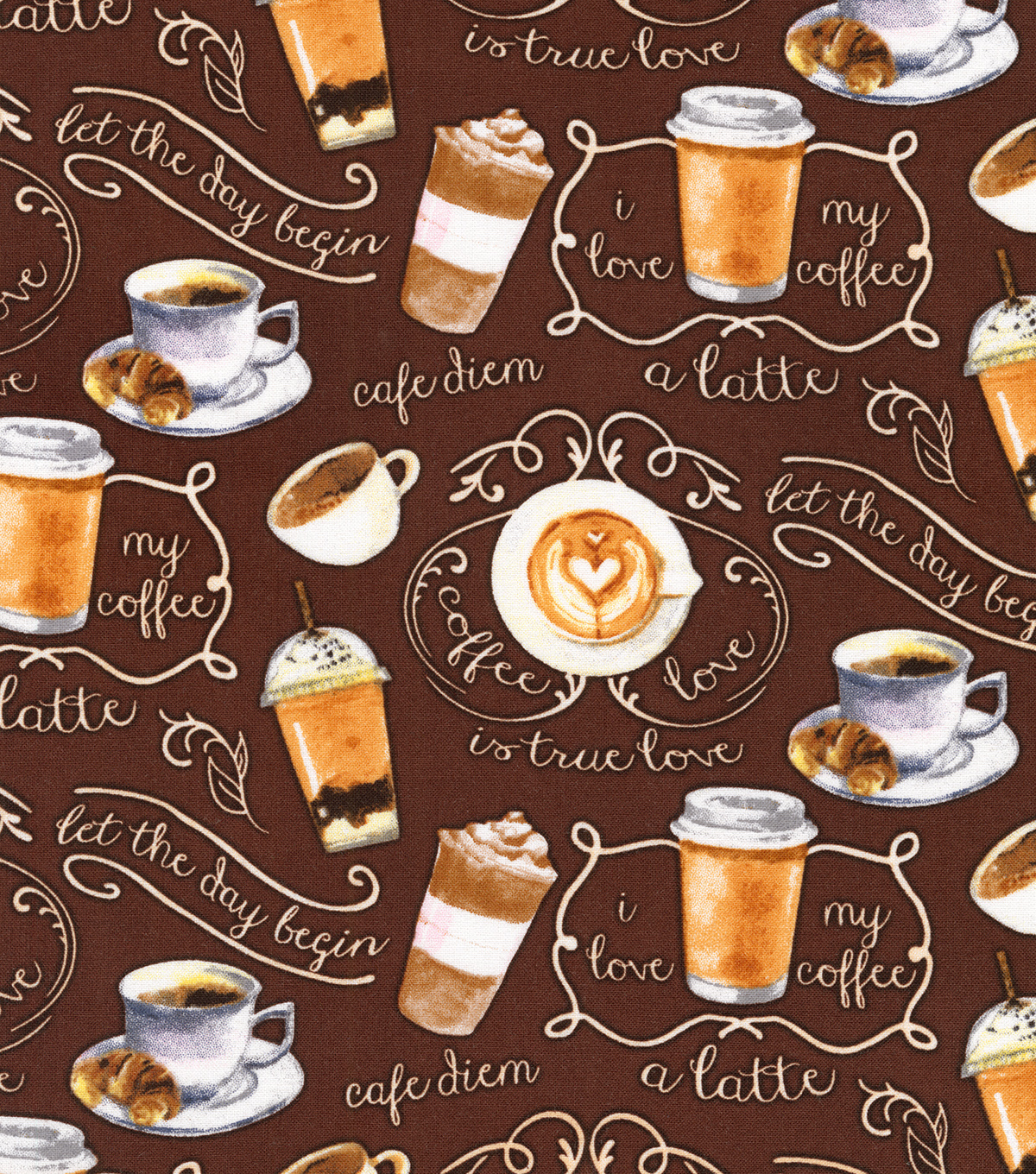 Novelty Cotton Fabric 44\u0027\u0027-Cafe Diem