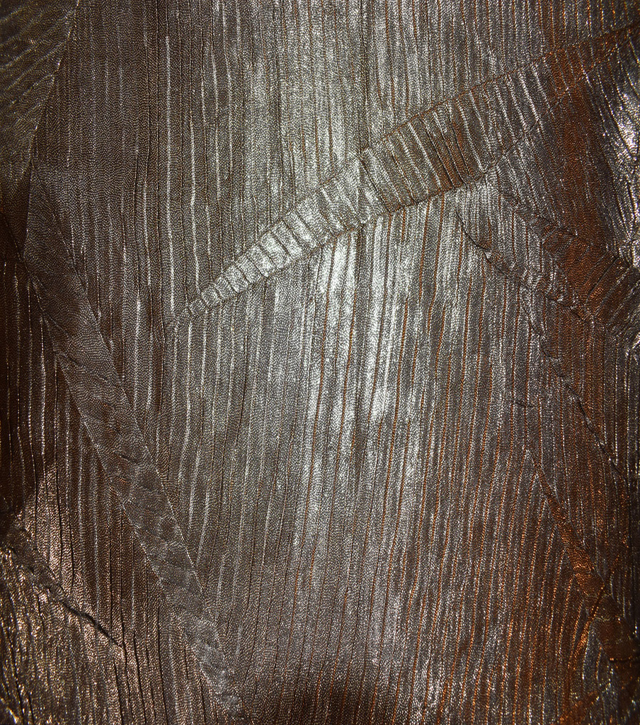 Crushed Foil Pleated Fabric 53\u0022-Gold