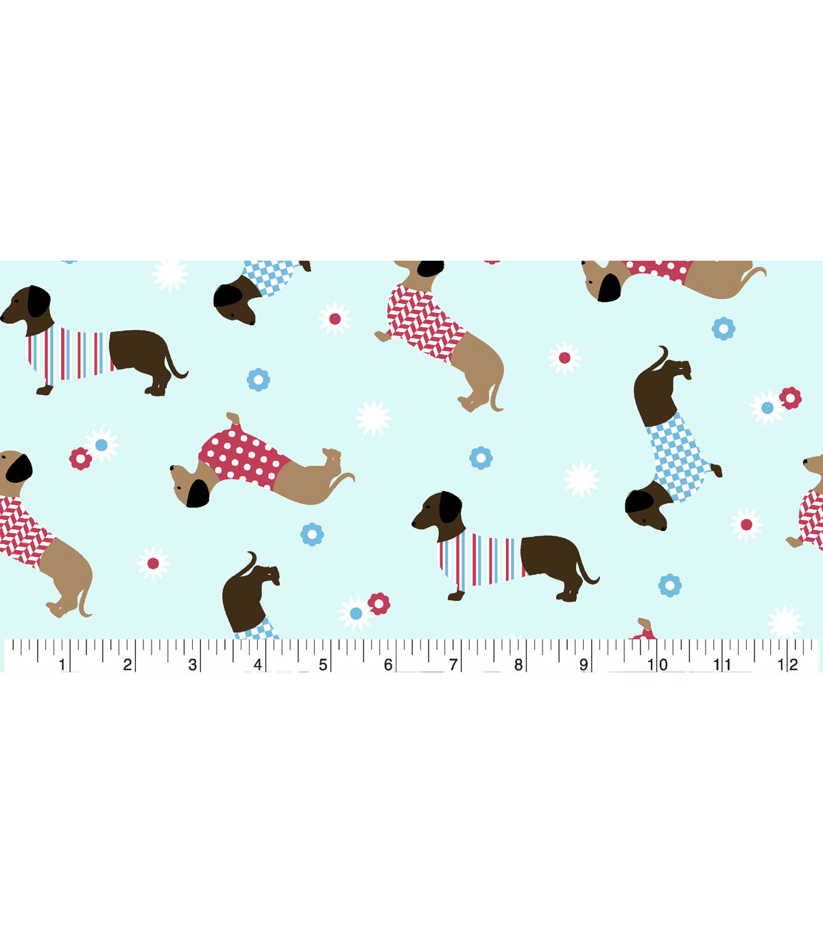 Snuggle Flannel Fabric -Dachshunds In Sweaters