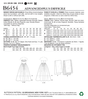 Butterick Pattern B6454 Misses\u0027 Ruffled Dresses & Shawls-Size 6-14