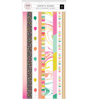 Pink Paislee Confetti Wishes Washi Stickers-Strips with Gold Foil