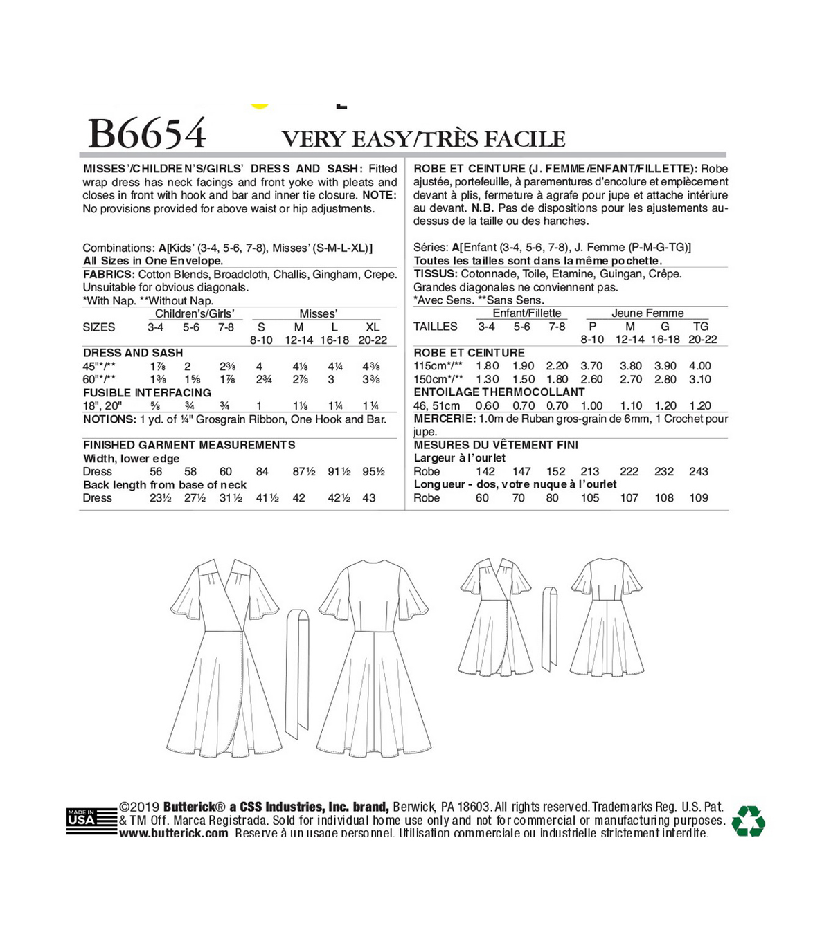Butterick Pattern B6654 Misses\u0027, Children\u0027s/Girls\u0027 Dress & Sash