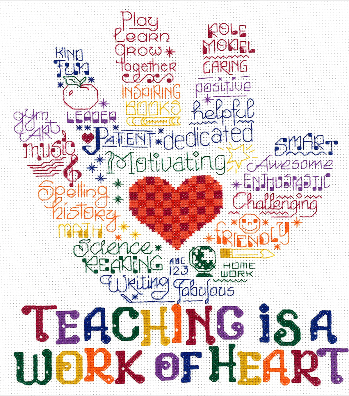 Imaginating 14-count Counted Cross Stitch Kit-Let\u0027s Hug A Teacher