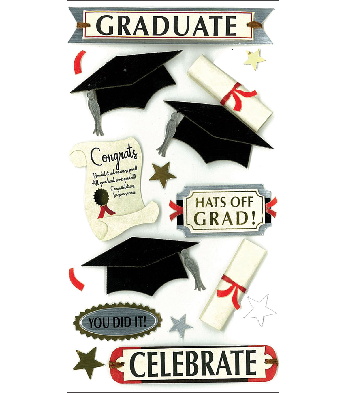 Jolee\u0027s Boutique Le Grande Dimensional Stickers-Graduate Celebrate