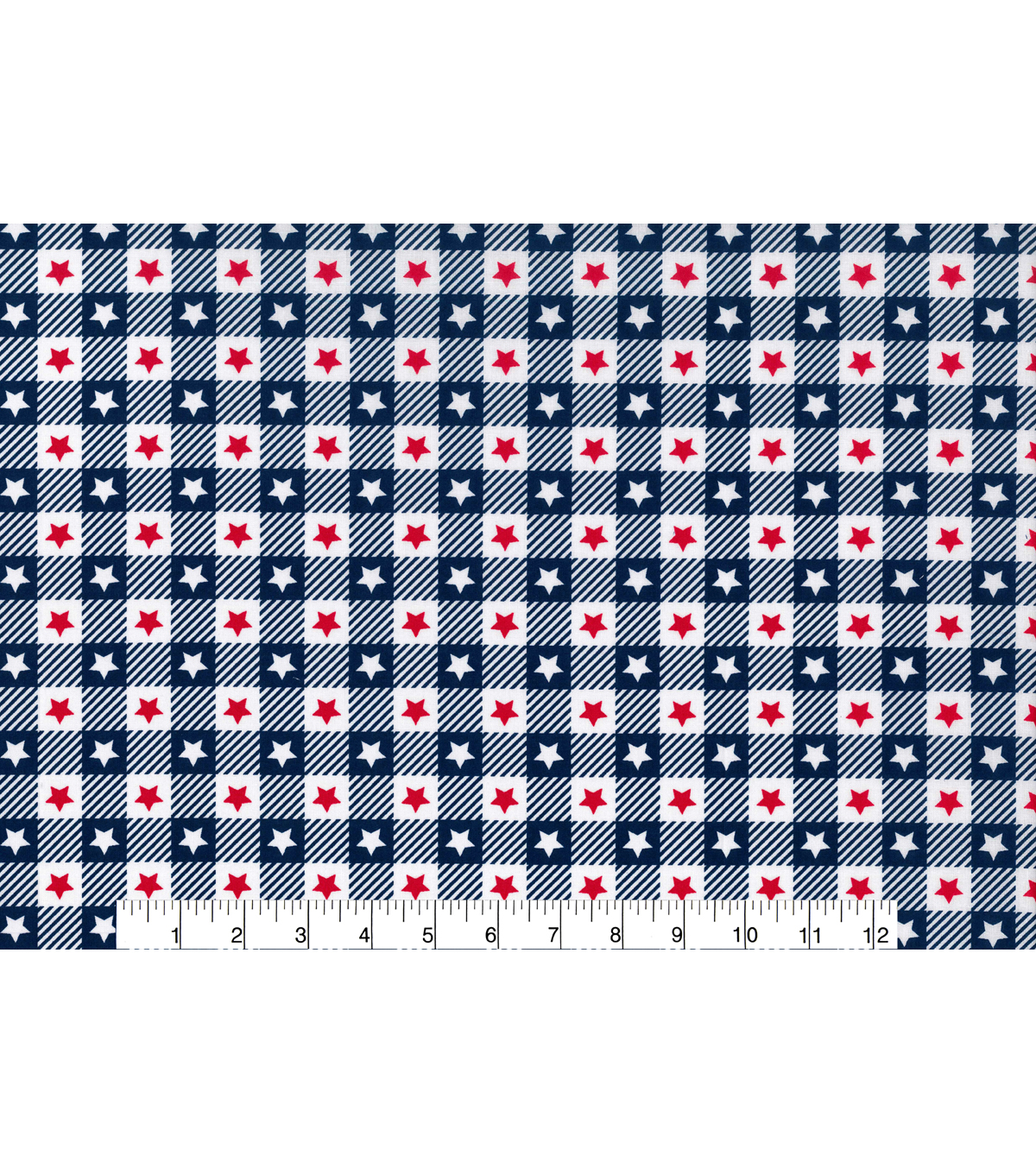 Patriotic Cotton Fabric -Blue Check with Red & White Stars