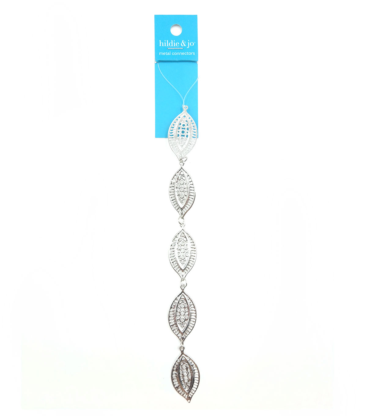 hildie & jo Laser Cut Drop Metal Connector Strung Beads-Silver