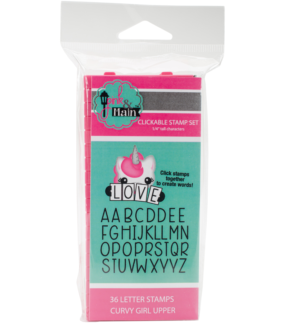 Pink & Main 36 pk Curvy Girl Clickable Font Stamps-Uppercase Alphabet