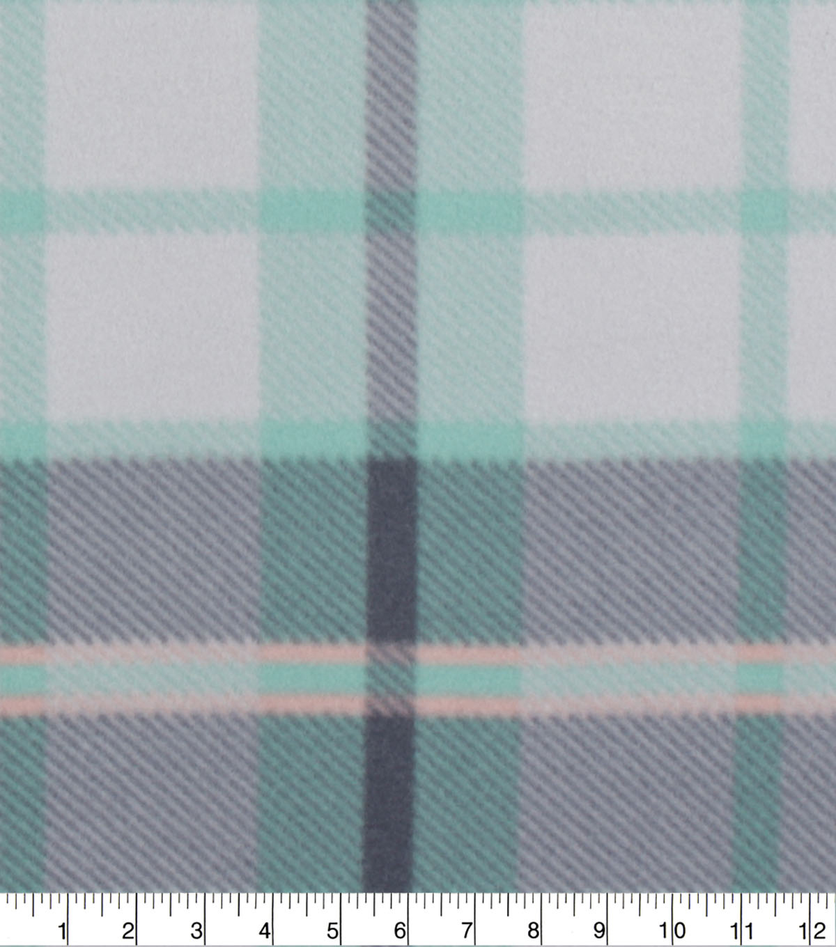 Blizzard Fleece Fabric-Coral, Mint & Gray Plaid