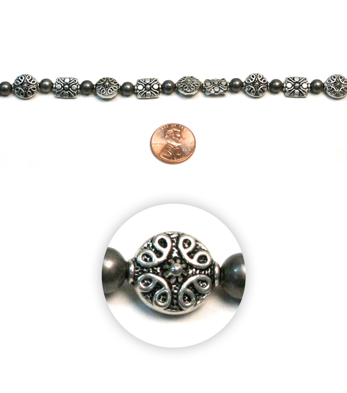 Sulyn Ornament Beads Strand-Antique Silver