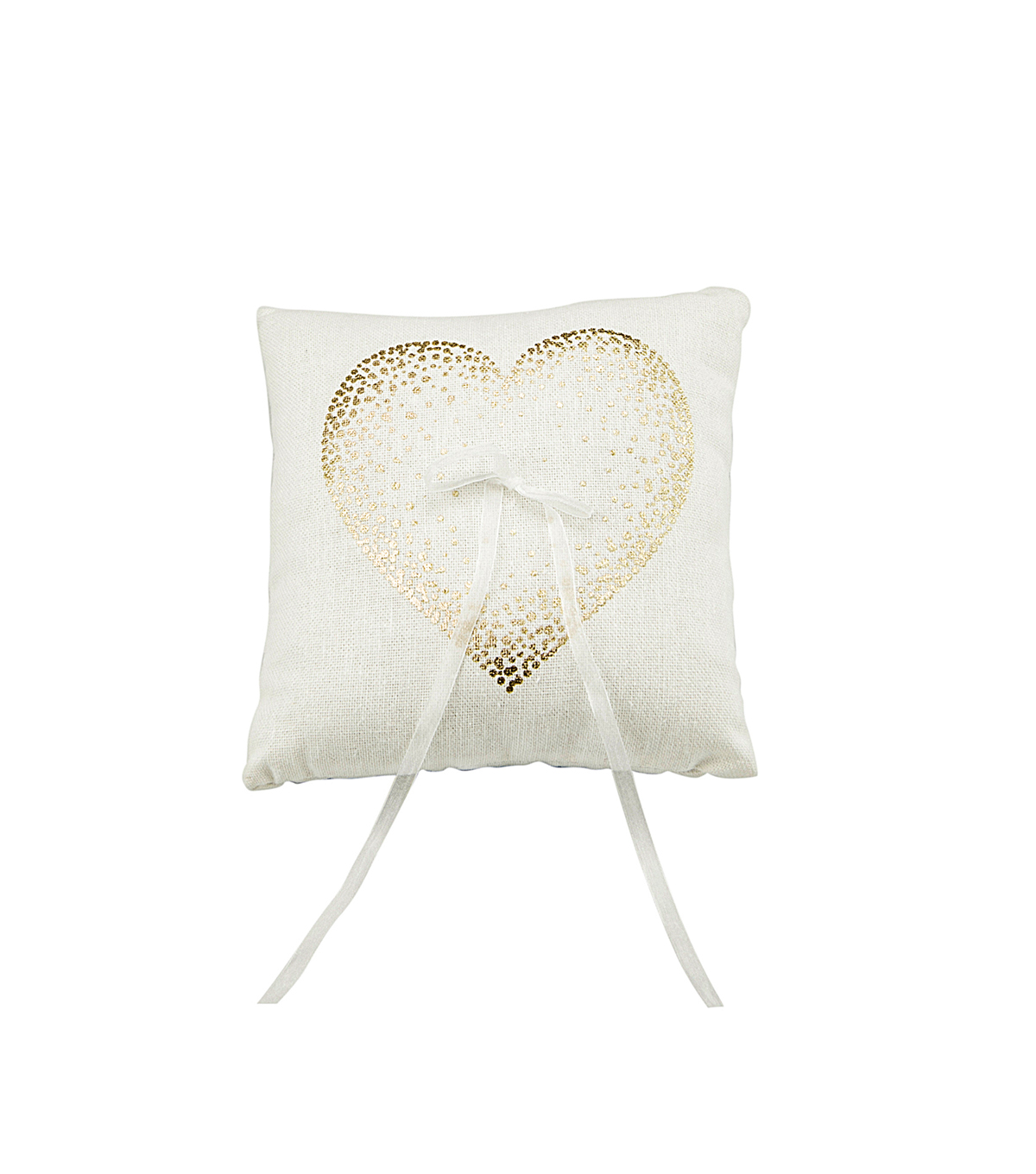 Save The Date Ring Pillow-Gold Dot Heart
