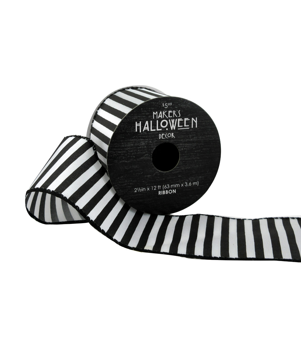 Maker\u0027s Halloween Ribbon 2.5\u0027\u0027x12\u0027-Black & White Stripes