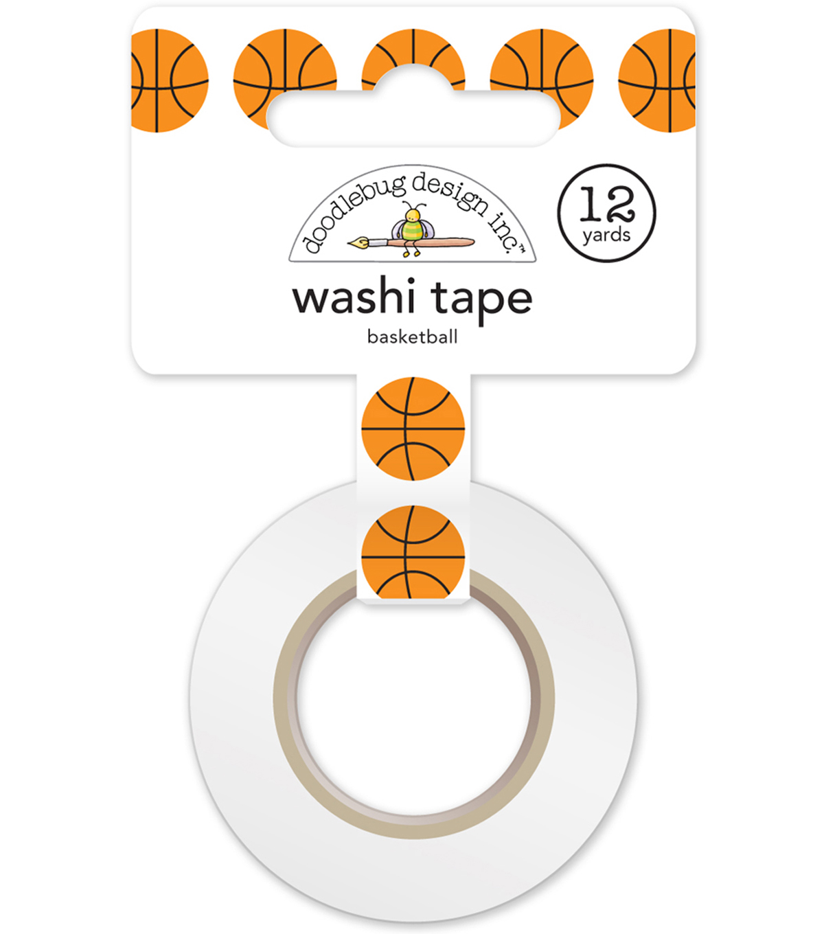 Doodlebug Design Slam Dunk Washi Tape 15 mmx12 yds-Basketballs