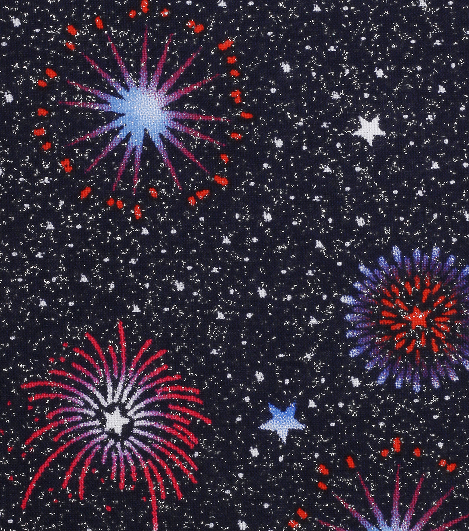 Patriotic Glitter Cotton Fabric -Fireworks Sky