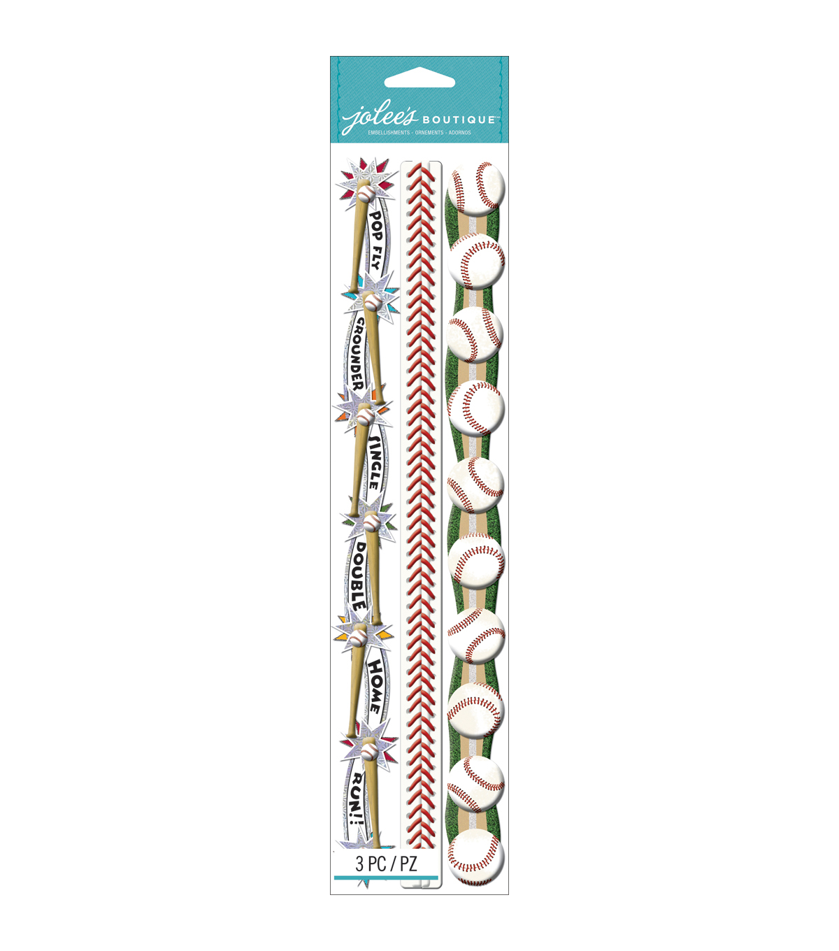 Jolee\u0027s Boutique Dimensional Stickers-Baseball Borders