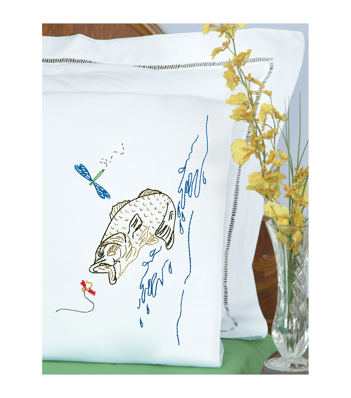 Jack Dempsey Stamped Pillowcases With Perle Edge Fish White