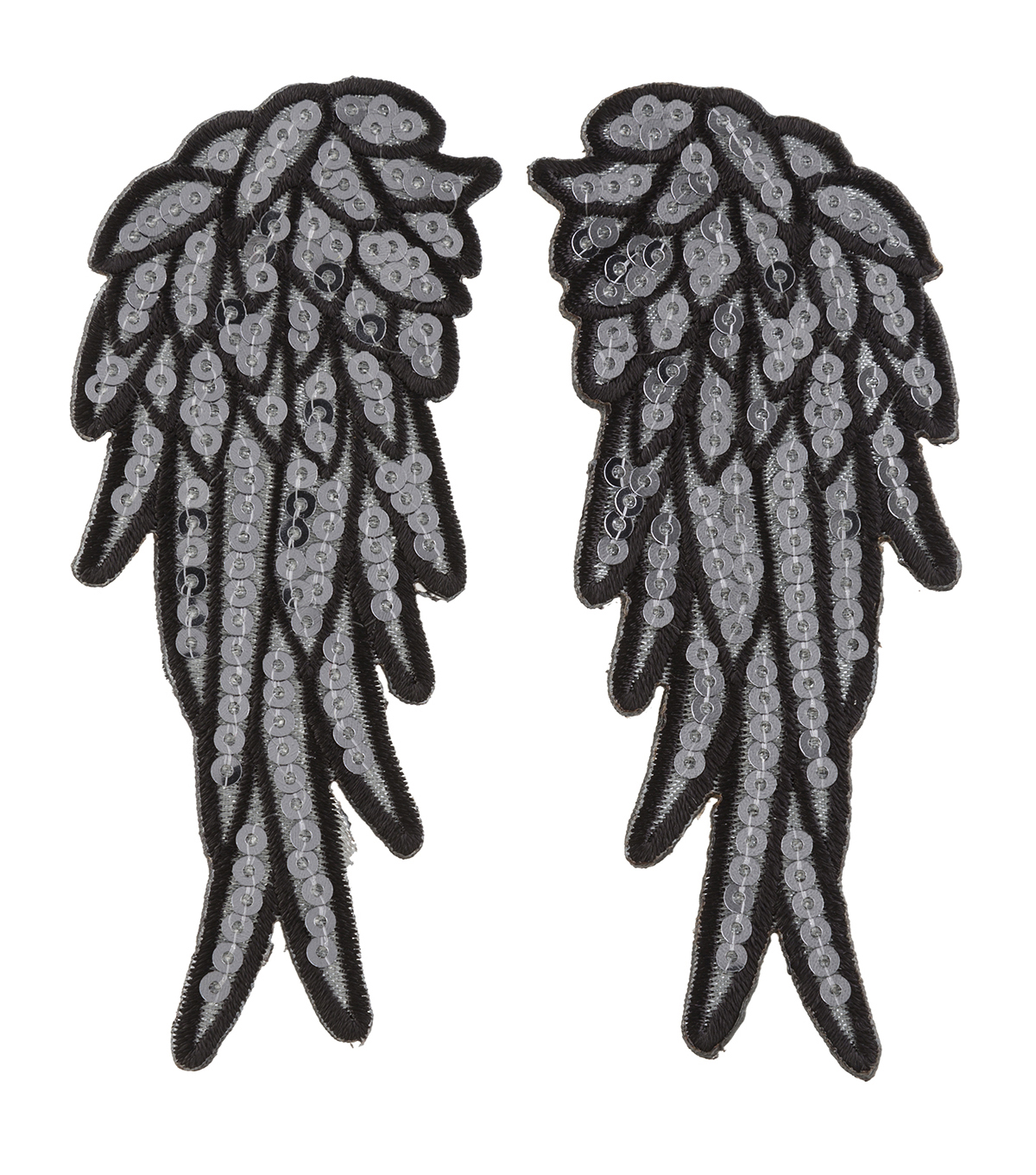Simplicity 2 pk Angel Wing Iron-on Appliques with Sequins-Silver