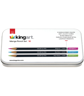 KINGART Pencil Set In Tin Case 12pk-Manga