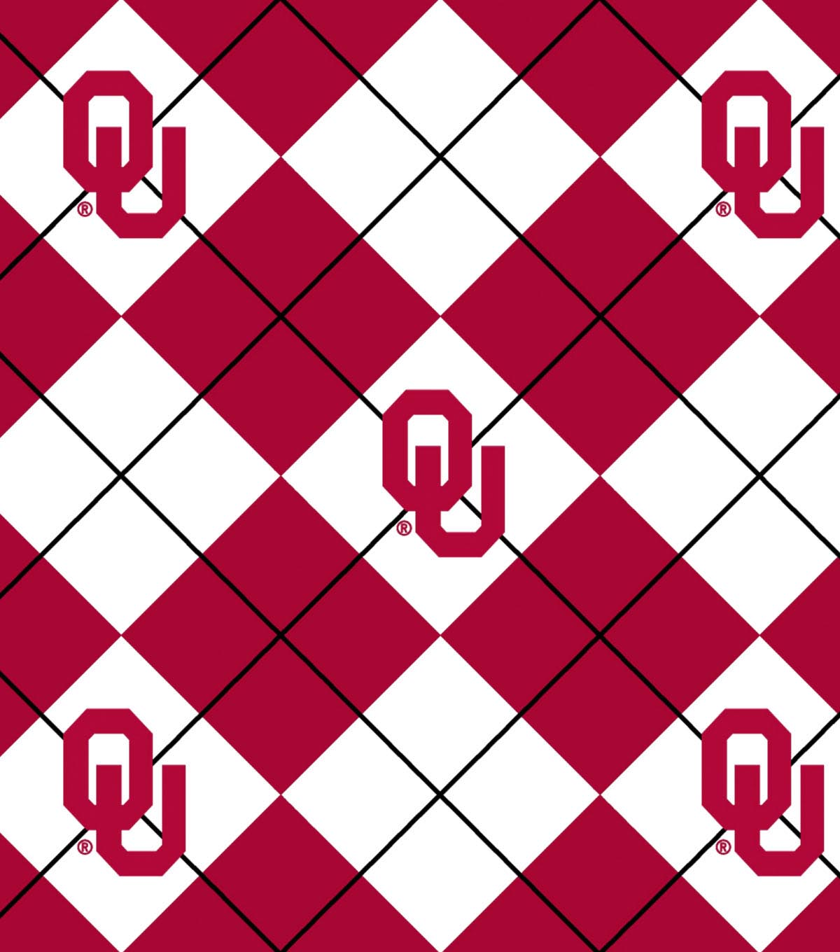 University of Oklahoma Sooners Fleece Fabric 58\u0022-Argyle