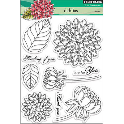 Penny Black Clear Stamps 5\u0022X7\u0022-Dahlias