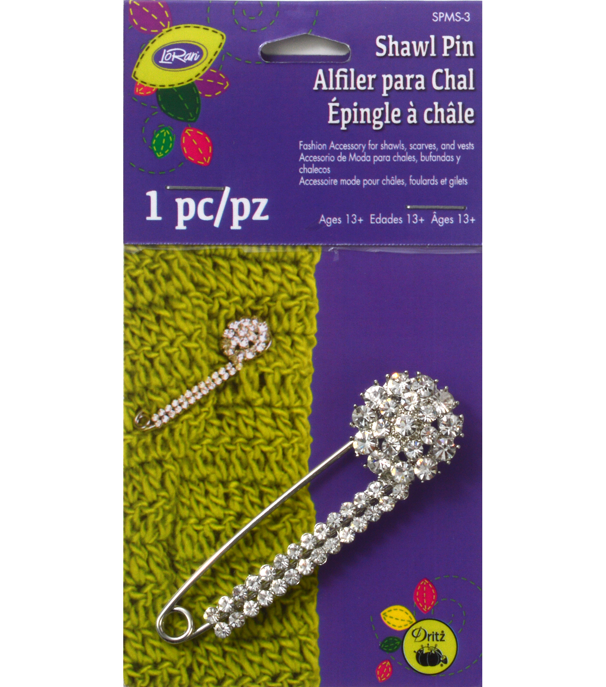 Glitz Shawl Bar Pin with Stone Cluster Silver/Clear