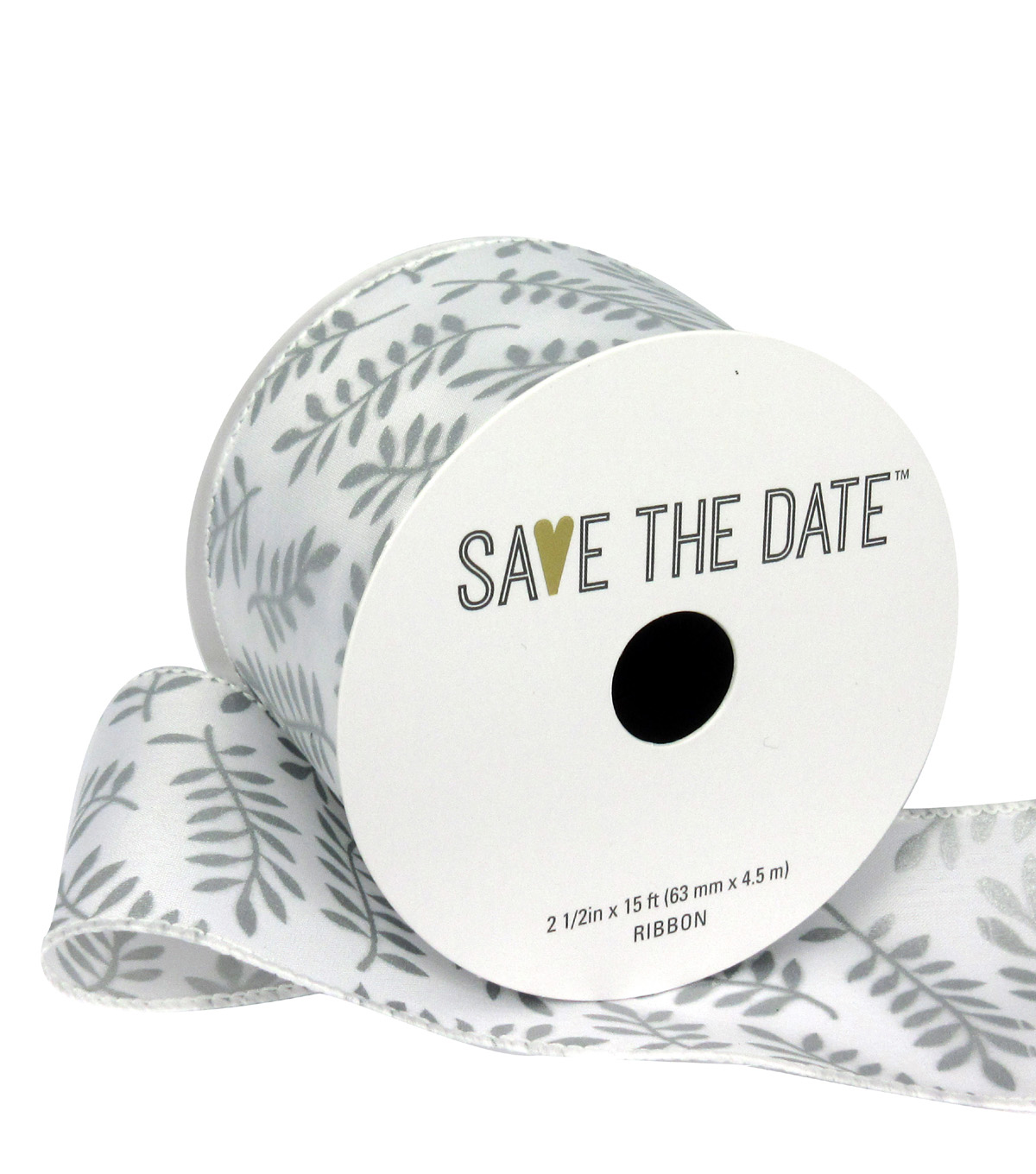 Save the Date 2.5\u0022 x 15ft Ribbon-Silver Fern On White