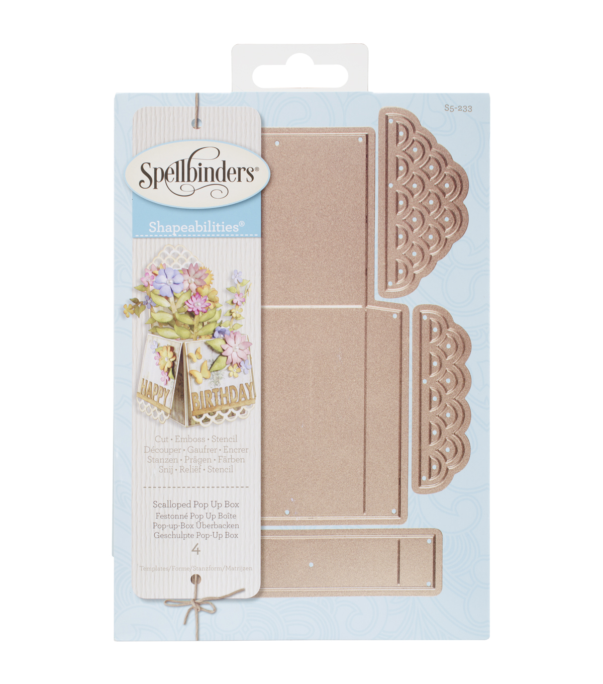 Spellbinders Shapeabilities Dies-Scalloped Pop Up Box