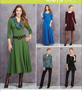 Simplicity Patterns Us1018H5-Simplicity Miss/Petite Knit Dresses, Tunics, Pant& Cowl-6-8-10-12-14