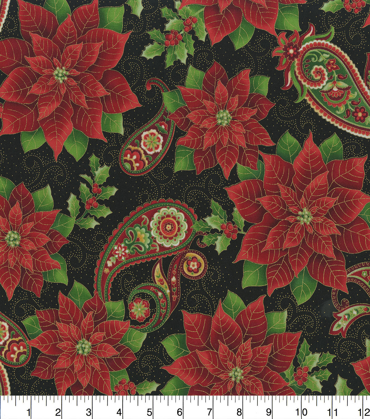 Christmas Cotton Fabric-Red Poinsettia on Black