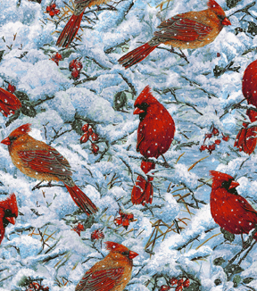Snuggle Flannel Fabric -Snowy Cardinals