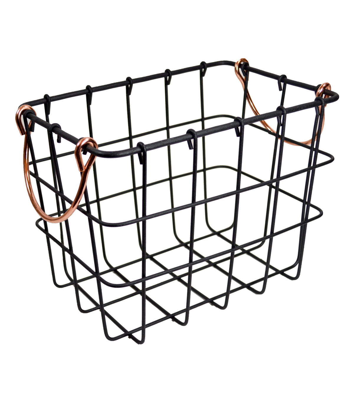 Small Metal Basket with Copper Handles
