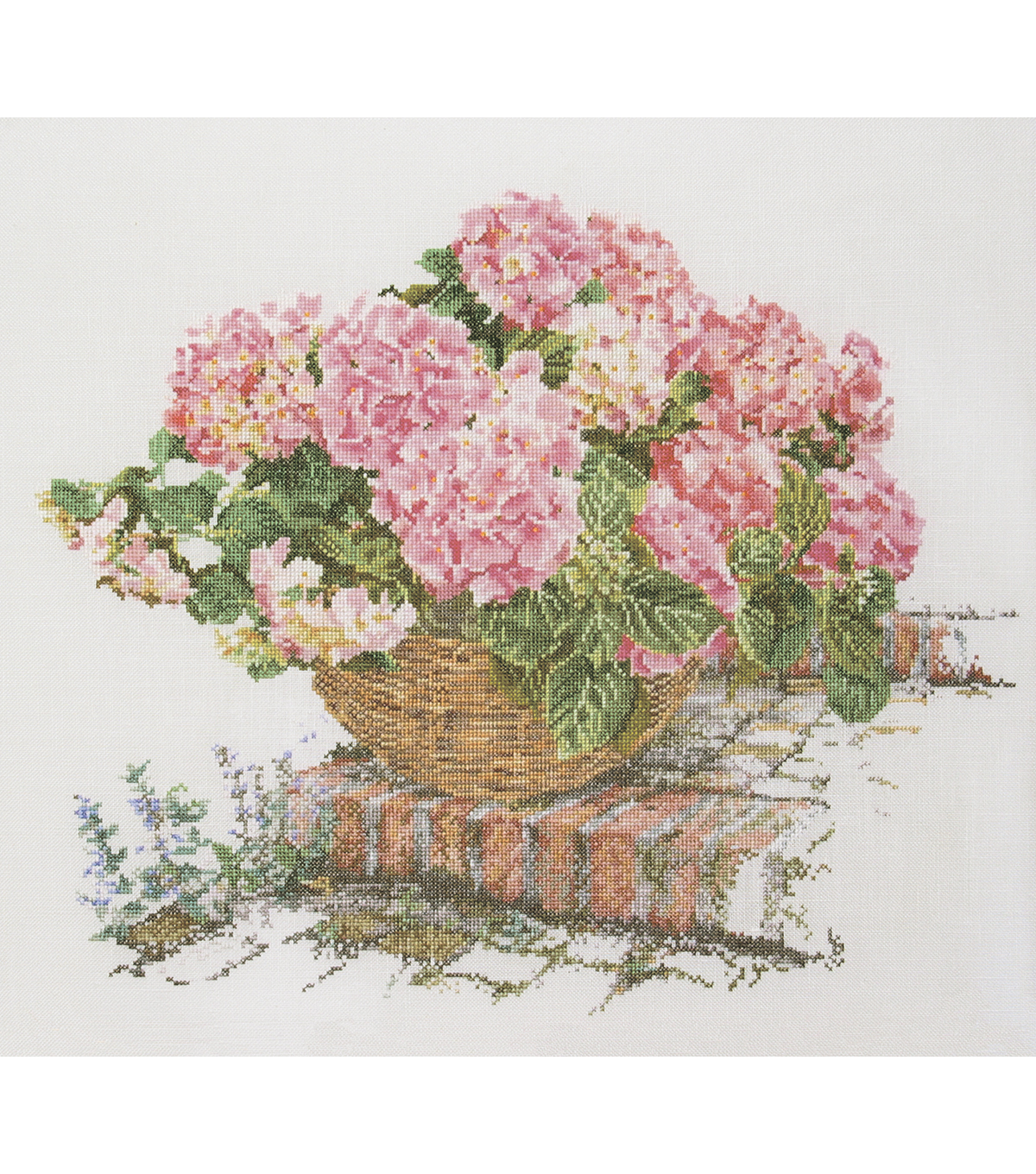 Thea Gouverneur Pink Hydrangea On Aida Counted Cross Stitch Kit