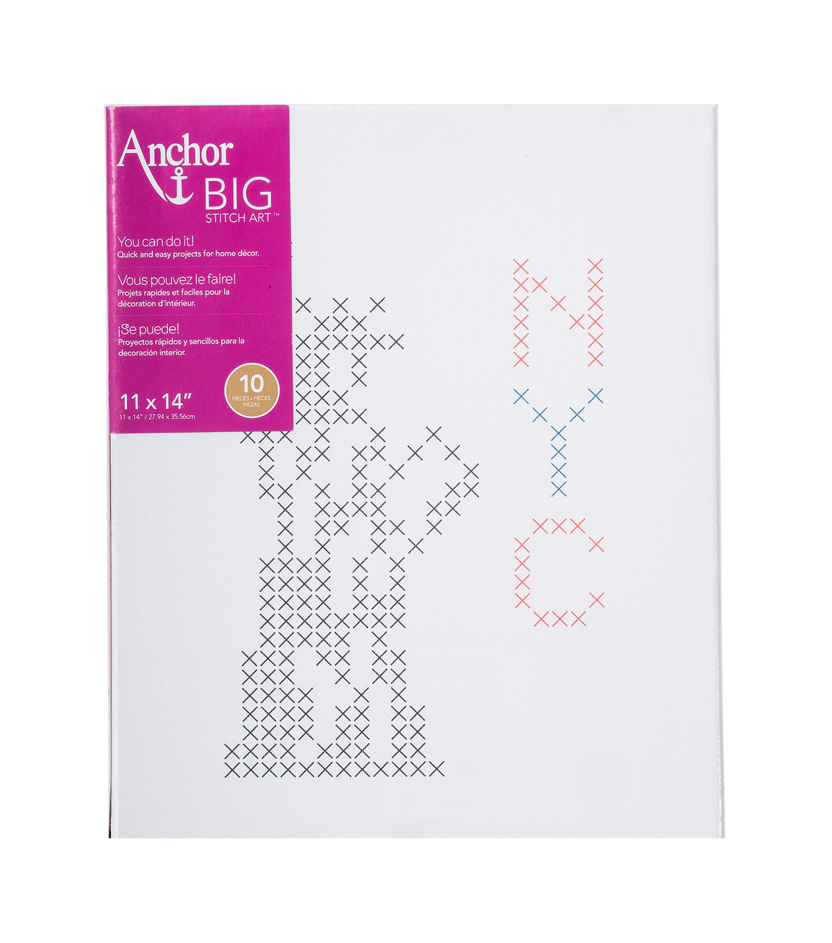 Anchor Big Stitch Art Cross Stitch Kit-NYC Stamped on Stretched Canvas