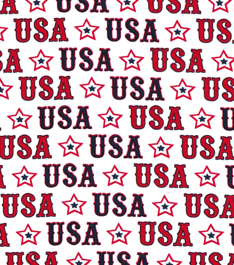 Patriotic Fabric-USA Stripe White