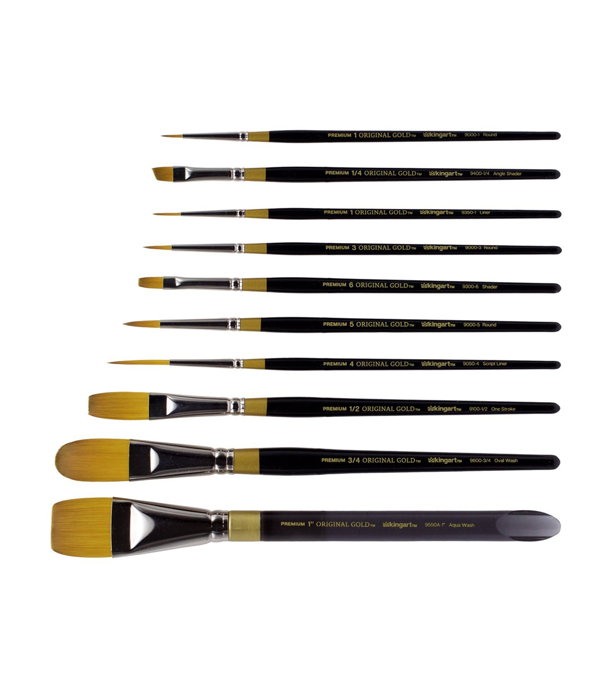 KINGART Original Gold Wood Handle Brush Set 10pk