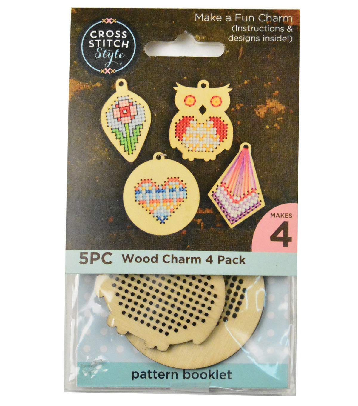 Cross Stitch Style 4 Pack Wood Charms-Diamond, Heart, Leaf & Owl