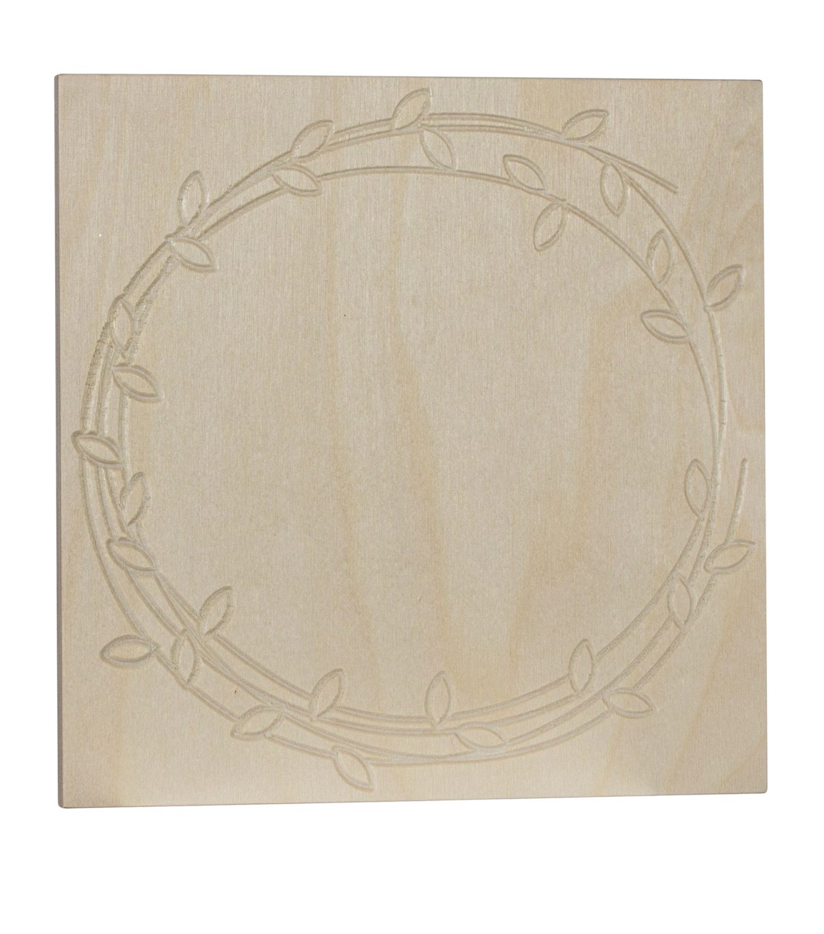 Unfinished Etched Wood Surface 8X8\u0027\u0027-Floral Wreath