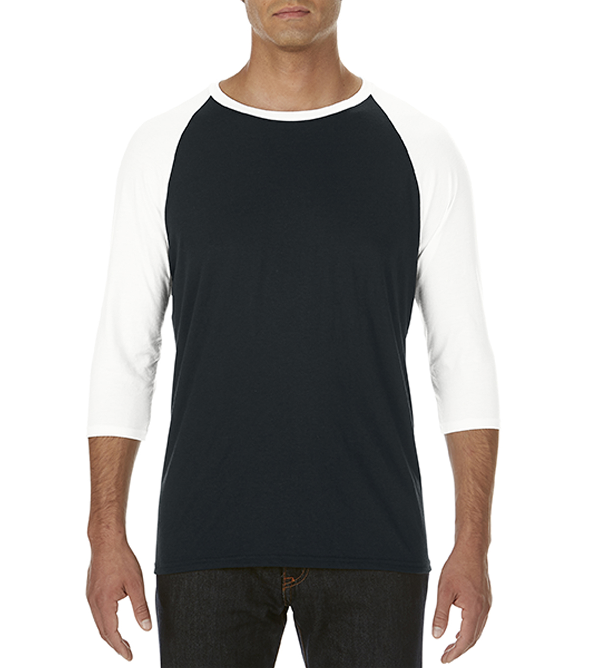 Anvil Extra Large Adult Raglan Shirt, Black/white