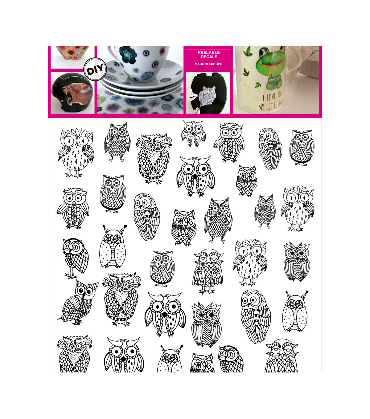 Decorprint Peelable Decals 7.75\u0027x7.75\u0022-Funny Owl