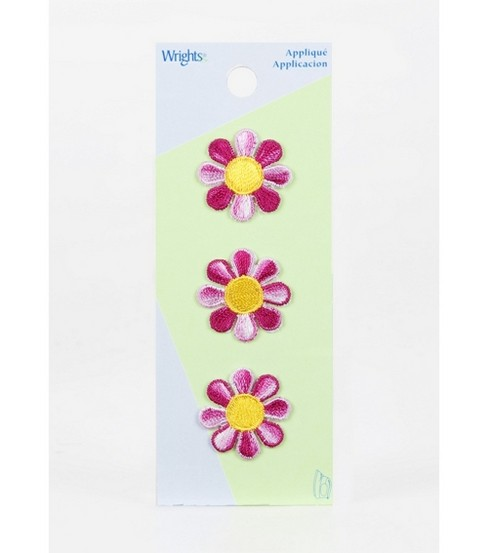 Wrights Iron-On Applique-Small Pink Tie Dye Daisy