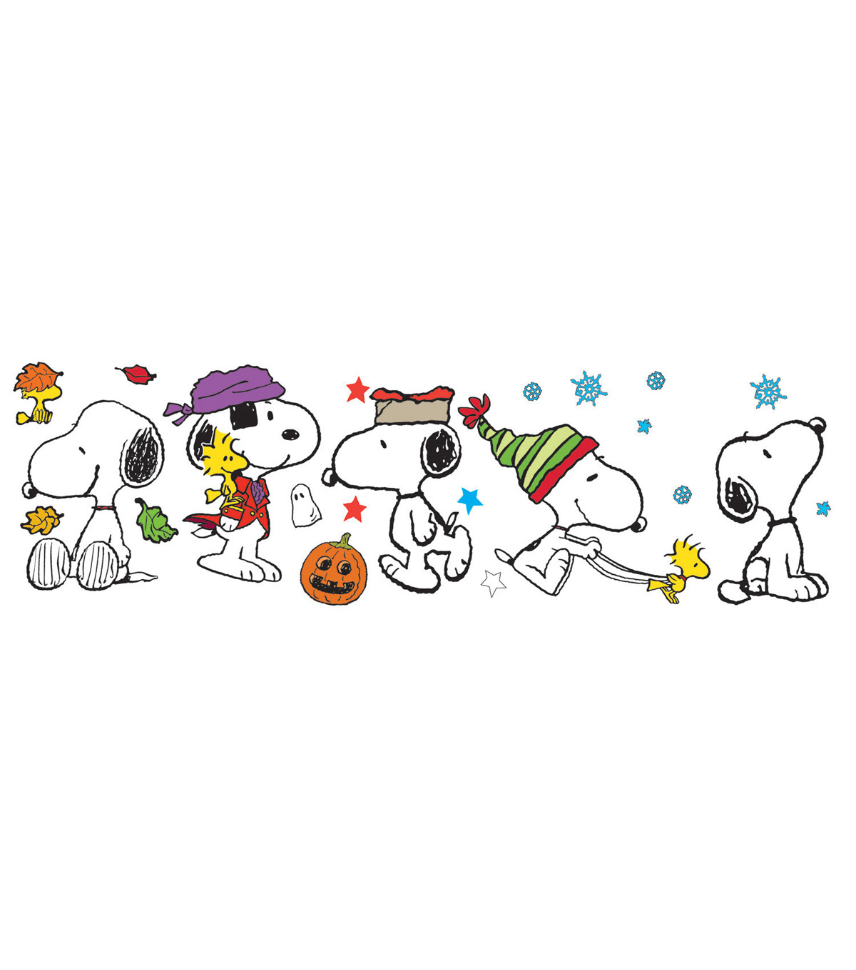 Eureka Snoopy Fall Winter Holiday Poses Bulletin Board Set, 2 Sets