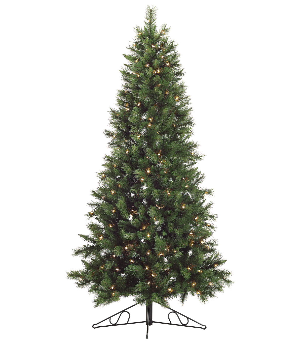 7.5\u0027 Canyon Pine Wall Tree Clear Lights on Metal Stand