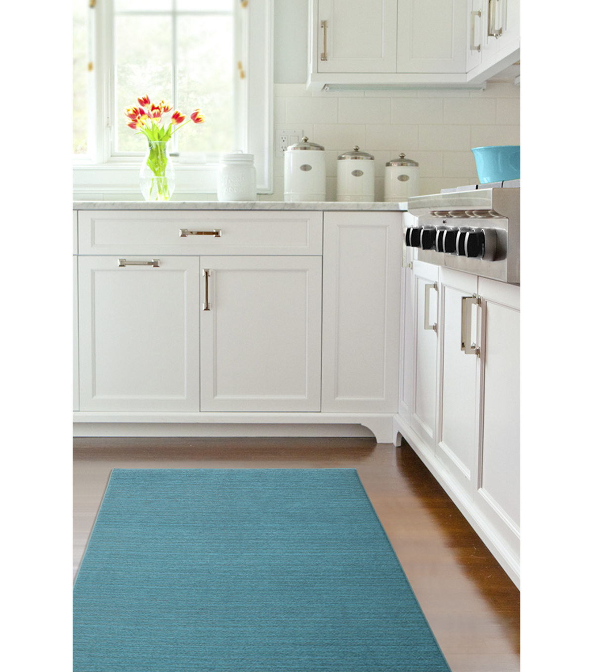 Ruggable 2pc Washable Rug System-Solid Chenille Aqua Blue