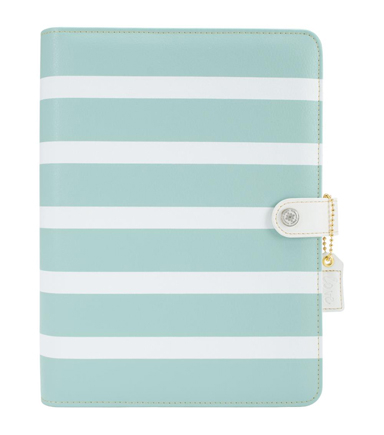 Webster\u0027s Pages Color Crush A5 Faux Leather Planner Kit-Teal Stripes
