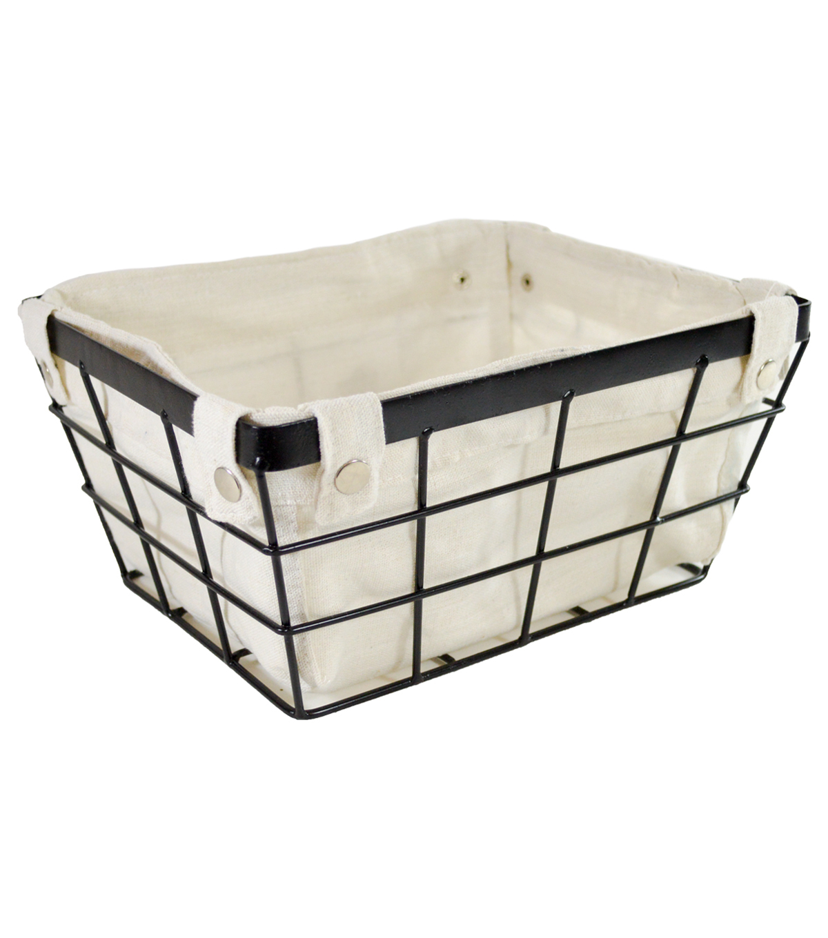 Small Laundry Storage Metal Wire Basket with Liner