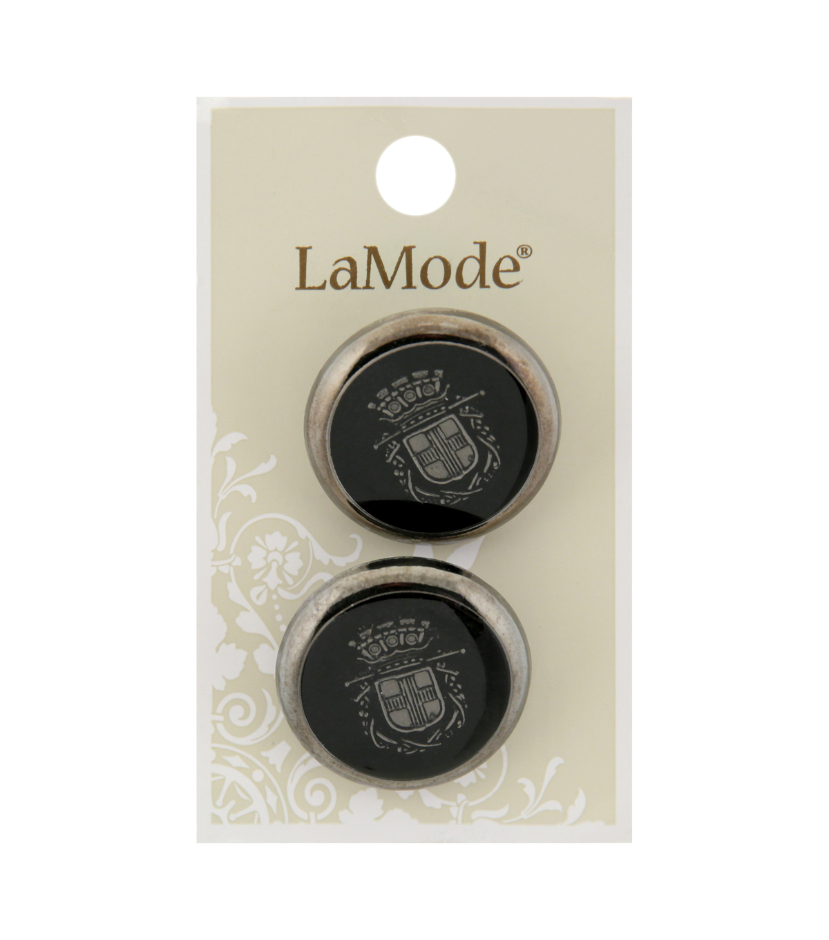 La Mode 2 pk 27 mm Shank Buttons-Black Epoxy with Silver Crest