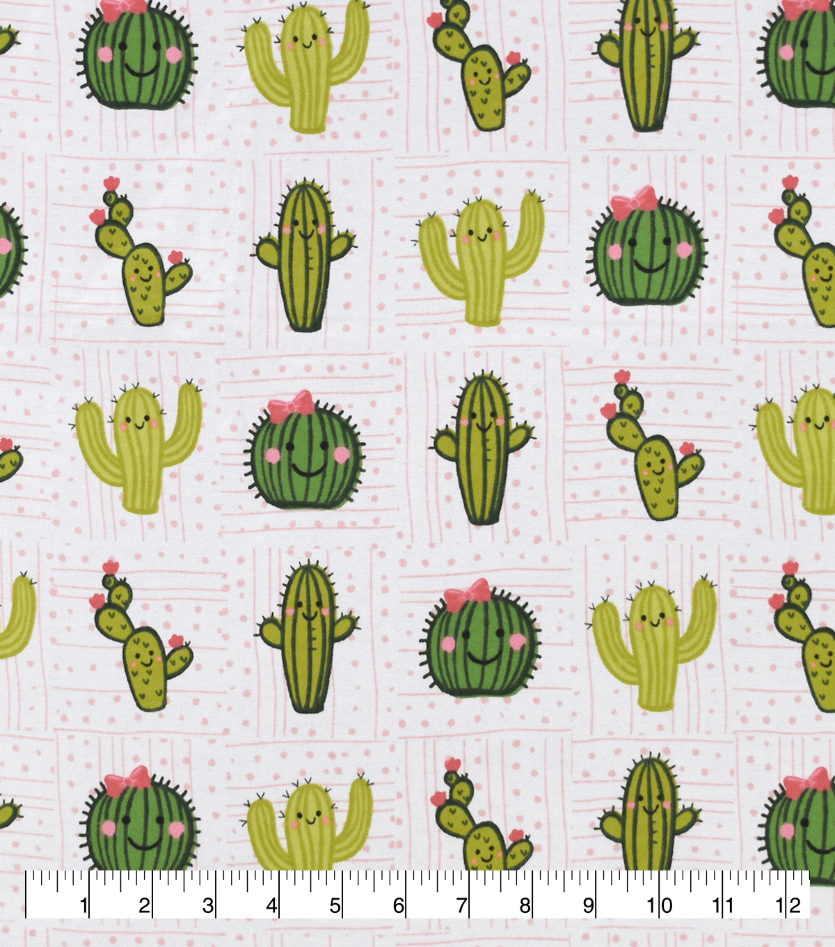 Snuggle Flannel Fabric-Cactus Smiling Friends