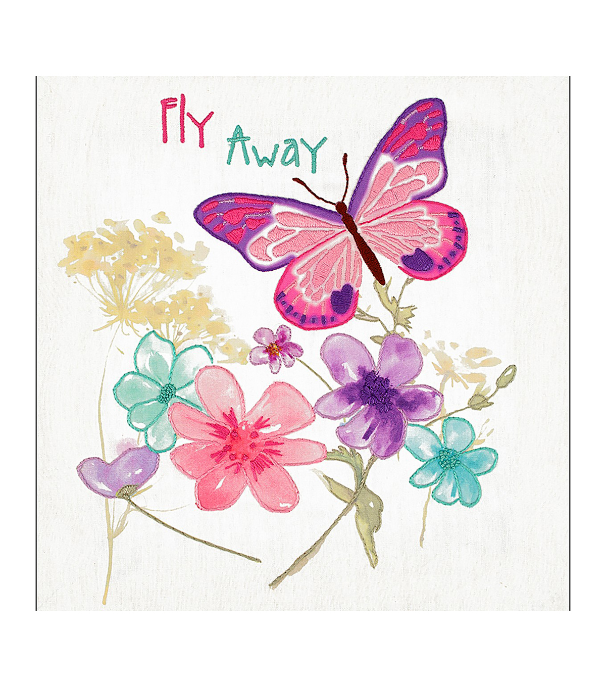Needle Creations Easy Peazy Printed Canvas Embroidery Kit-Butterfly