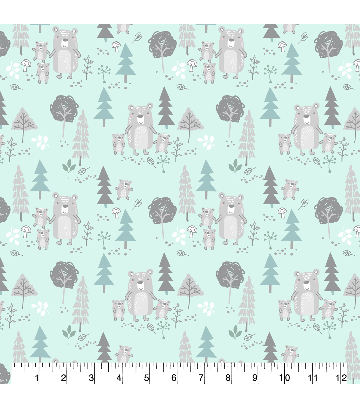 Nursery Flannel Fabric-Woods Mint Bears